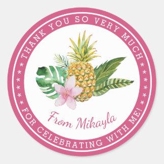 水彩画のルアウ(ハワイ式宴会)は好意のステッカー感謝していしています 丸型シール
