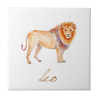水彩画のレオのライオン タイル