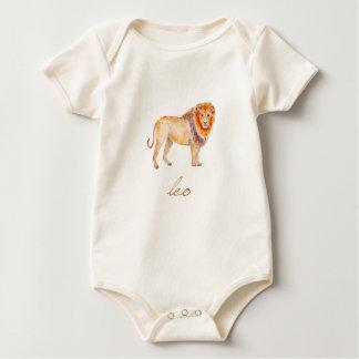 水彩画のレオのライオン ベビーボディスーツ