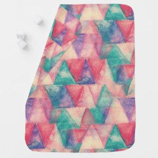 水彩画の三角形パターン + あなたのアイディア ベビー ブランケット
