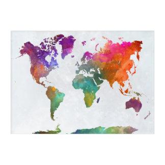 水彩画の世界地図 アクリルウォールアート