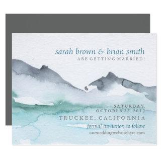 水彩画の保存日付のmountainside湖カード 10.8 x 14 インビテーションカード