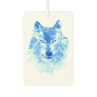 水彩画の冬のオオカミ車の芳香剤 カーエアーフレッシュナー