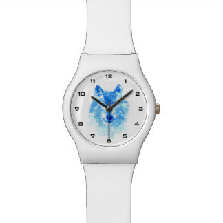 水彩画の冬のオオカミMay28thの腕時計 ウオッチ