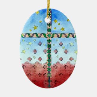 水彩画の十字のクリスマスのオーナメント セラミックオーナメント