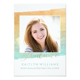 水彩画の卒業の発表 カード