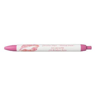 水彩画の唇のメーキャップアーティストの名前入りなペン 黒ボールペン