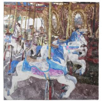水彩画の回転木馬 ナプキンクロス