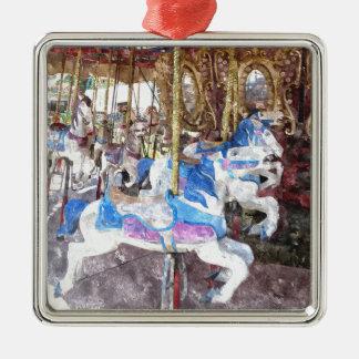 水彩画の回転木馬 メタルオーナメント