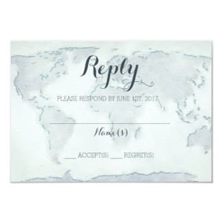 水彩画の地図の結婚式の応答カード カード