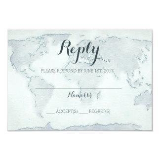 水彩画の地図の結婚式の応答カード 8.9 X 12.7 インビテーションカード