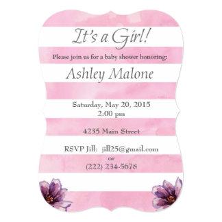水彩画の女の子のベビーシャワーのピンクの招待状 カード