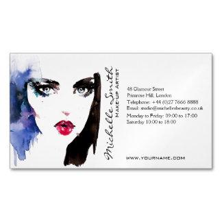 水彩画の女性のポートレートのメーキャップアーティストのブランディング マグネット名刺 (25枚パック)