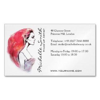 水彩画の女性のポートレートは芸術家のブランディングを構成します マグネット名刺 (25枚パック)
