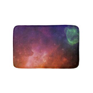 水彩画の宇宙の宇宙オレンジブルースターの星雲 バスマット