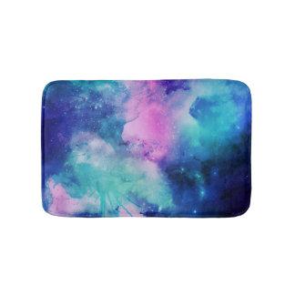 水彩画の宇宙の宇宙ピンクのブルースターの星雲 バスマット