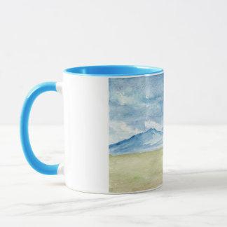 水彩画の山 マグカップ