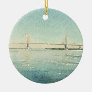 水彩画の川橋チャールストンサウスカロライナ セラミックオーナメント