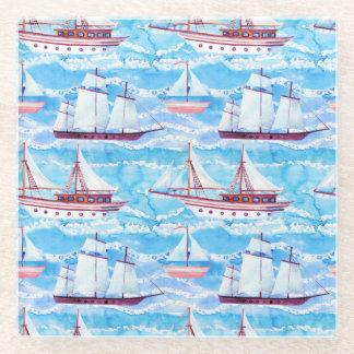 水彩画の帆船パターン ガラスコースター