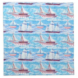 水彩画の帆船パターン ナプキンクロス
