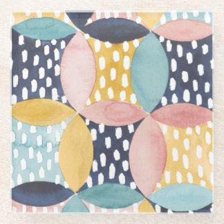 水彩画の幾何学的な円 ガラスコースター