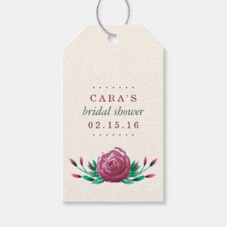 水彩画の庭のバラのブライダルシャワーの好意 ギフトタグ