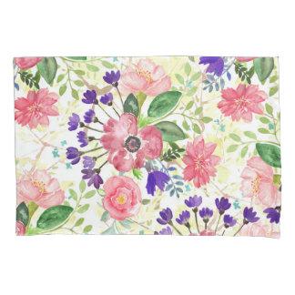 水彩画の庭の花 枕カバー