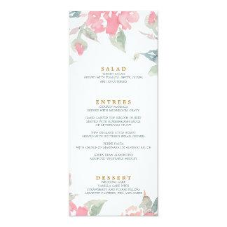 水彩画の庭園の結婚式の結婚式夕食メニュー カード