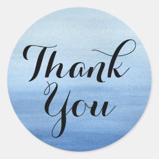 水彩画の感謝の青い洗浄モダンは感謝していしています ラウンドシール