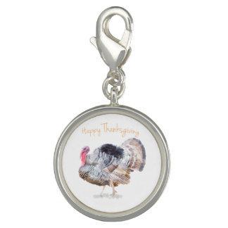 水彩画の感謝祭TurkeyCharmは、めっきされて銀を着せます チャーム