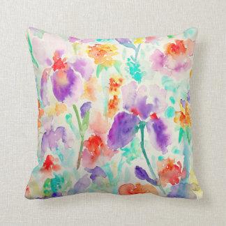 水彩画の抽象的なアイリス花の枕オレンジ クッション