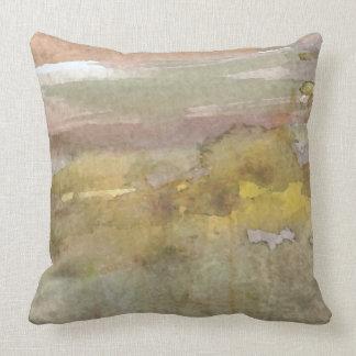 水彩画の抽象的なオリーブ色の錆の枕 クッション