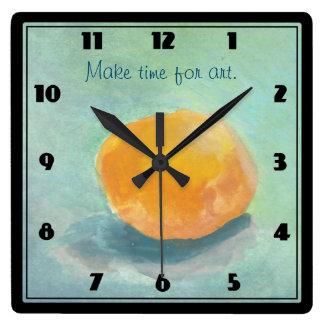 水彩画の抽象的なオレンジ球の静物画 スクエア壁時計