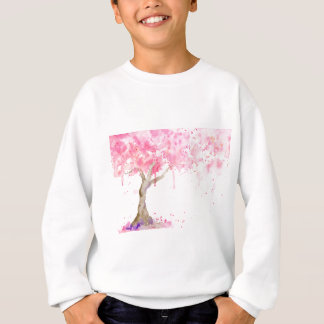水彩画の抽象的なピンクの木、桜 スウェットシャツ