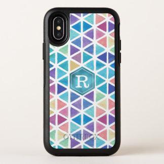水彩画の抽象的な幾何学的(珊瑚礁の調子) オッターボックスシンメトリー iPhone X ケース