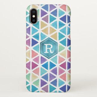 水彩画の抽象的な幾何学的(珊瑚礁の調子) iPhone X ケース