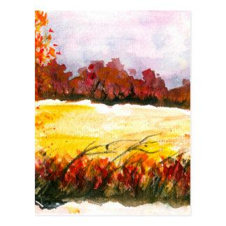 水彩画の抽象的な景色の芸術の秋の木 ポストカード