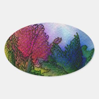 水彩画の抽象的な景色-霧深い日の出 楕円形シール