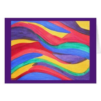水彩画の抽象的な虹のストリップ カード