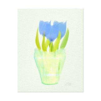 水彩画の抽象的な青チューリップの真新しいキャンバス キャンバスプリント