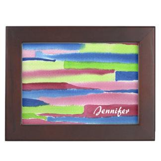 水彩画の抽象芸術のストライプの手塗りの赤い青 アクセサリーケース