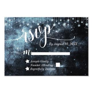 水彩画の星明かりの夜天の結婚RSVP カード