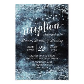 水彩画の星明かりの夜銀河系の結婚披露宴 カード
