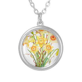 水彩画の春の花のラッパスイセン シルバープレートネックレス