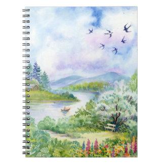 水彩画の春場面ノート ノートブック