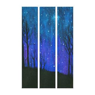 水彩画の景色の芸術の夜空は宇宙を主演します キャンバスプリント