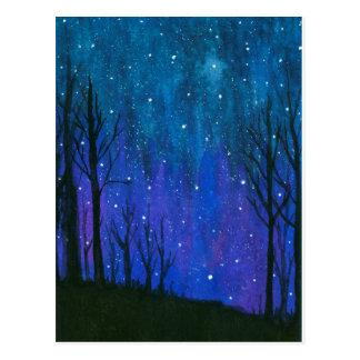 水彩画の景色の芸術の夜空は宇宙を主演します ポストカード