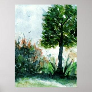 水彩画の景色の芸術の木の自然の季節 ポスター