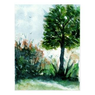水彩画の景色の芸術の木の自然の季節 ポストカード