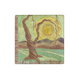 水彩画の景色の芸術の石の磁石 ストーンマグネット